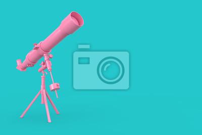 Poster Pink Modern Mobile Telescope on Tripod. 3d Rendering