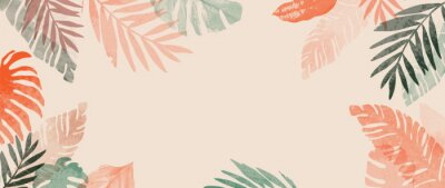 Poster Pink summer tropical background vector. Palm leaves, monstera leaf, Botanical background design for wall framed prints, wall art, invitation, canvas prints, poster, home decor, cover, wallpaper.