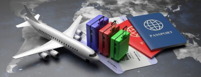 Poster Plane tickets and passports for business trip travel, tourism on world map background. 3d illustration