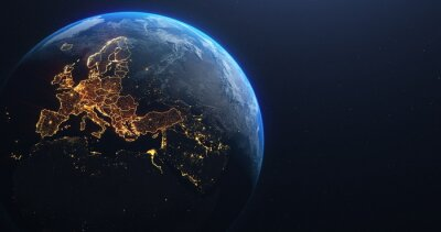 Poster Planet Earth from Space EU Europe Countries highlighted