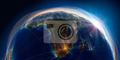 Poster Planet Erde mit detaillierten Reliefs ist mit einem komplexen leuchtenden Netzwerk von Flugrouten bedeckt, die auf realen Daten basieren. Südafrika und Madagaskar. 3D-Rendering. Elemente dieses Bildes