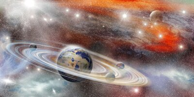 Poster Planet im Raum mit zahlreichen Ringsystem