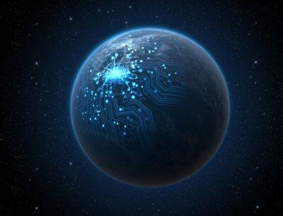 Poster Planet Mit Beleuchtetem Netzwerk