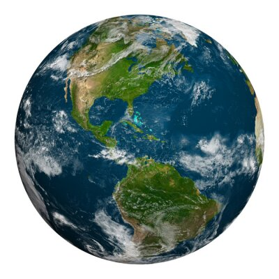 Poster Planeten Erde mit Wolken. Nord-und Südamerika.