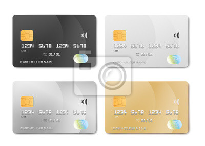 Poster Plastic bank card design template set - isolated credit or debit cards mockup