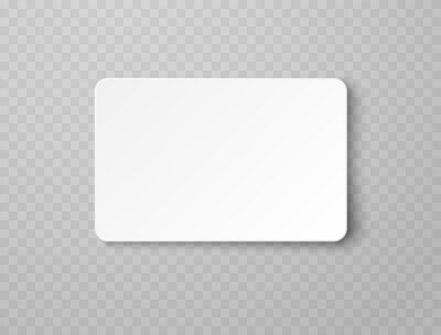 Poster Plastic or paper white business card isolated on transparent background. Vector blank sticker, sheet, label, banner with rounded corners template