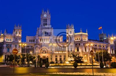 Plaza de Cibeles in der Nacht, Madrid, Spanien