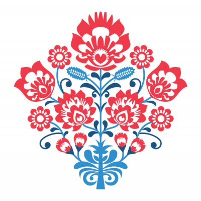 Poster Polish Folk art pattern with flowers - wzory lowickie, wycinanka