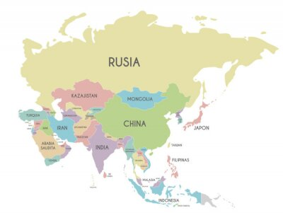 Poster Politische Asien-Kartenvektorillustration lokalisiert auf weißem Hintergrund mit Ländernamen auf spanisch. Bearbeitbare und klar beschriftete Ebenen.