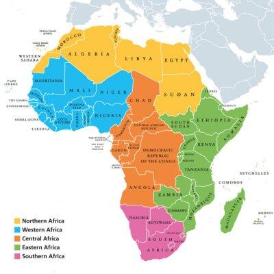 Poster Politische Karte der Afrika-Regionen mit einzelnen Ländern. Geocheme der Vereinten Nationen. Nord-, West-, Zentral-, Ost- und Südliches Afrika in verschiedenen Farben. Englische Beschriftung. Illustra
