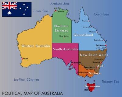 Poster Politische Karte von Australien