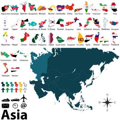 Poster Politische Karten von Asien