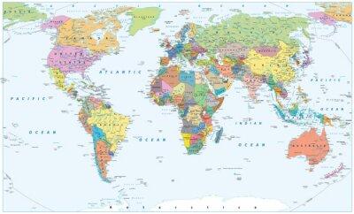 Poster Politische Weltkarte - Grenzen, Länder und Städte