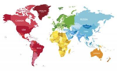 Poster Politische Weltkarte Vektor-Illustration mit verschiedenen Farben für jeden Kontinent und verschiedenen Tönen für jedes Land.  Bearbeitbare und klar beschriftete Ebenen.