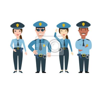 Poster Polizeimann und Polizeifrau. Polizisten in Uniform. Isoliert auf weißem Hintergrund