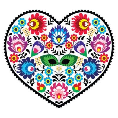 Poster Polnische Volkskunst Kunst Herz mit Blumen - wzory Lowickie