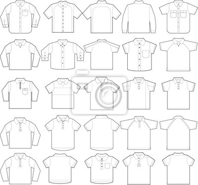 Polo & gedrückt Shirts Umriss Vektor-Vorlagen