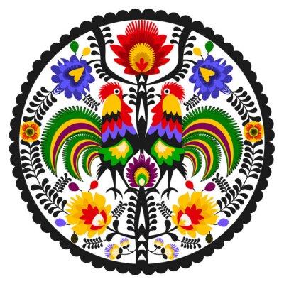 Poster Polski folklor - okrągły wzór ludowy