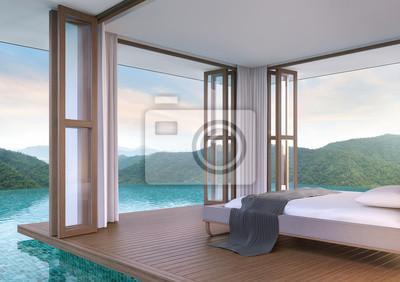Pool Villa Schlafzimmer Mit Blick Auf Die Berge 3d Rendering Wandposter U2022  Poster Bewohner, Für Immer, Siam   Myloview.de