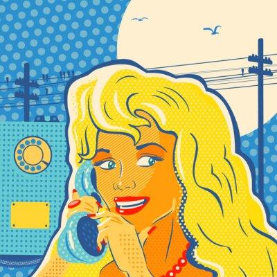 Poster Pop-Art-Art-Mädchen Mit Telefon