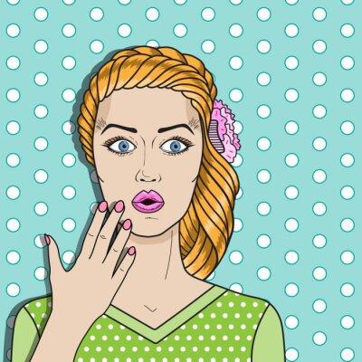 Poster Pop-Art-Frau verwirrt, überrascht Frau rote Haare. Comic Frau Vektor.