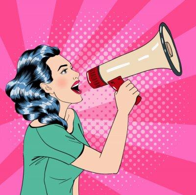 Poster Pop-Art-Stil Frau mit Megaphon