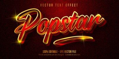Poster Popstar text, shiny golden style editable text effect