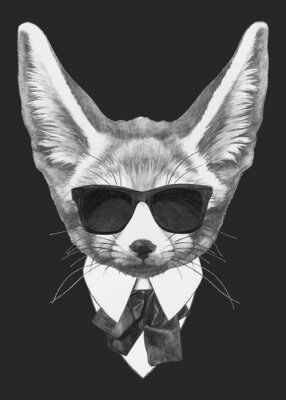 Poster Portrait Fennec Fox in suit. Hand-drawn illustration of dog. Vector isolated elements.