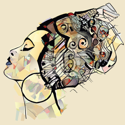 Poster Portrait of cute african woman with hat (profile)