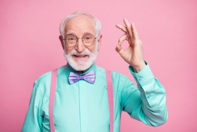 Poster Portrait of positive cheerful old gentleman show okay sign decide choose perfect ads decisions choice wear good look outfit purple bow tie isolated over pastel color background