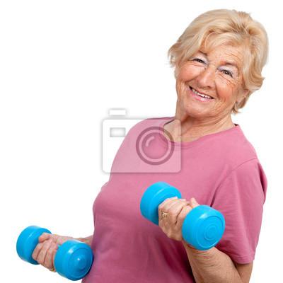 Portrait of senior Frau mit Gewichten.
