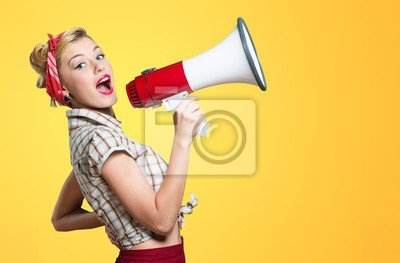 Poster Portrait of woman holding megaphone, dressed in pin-up style