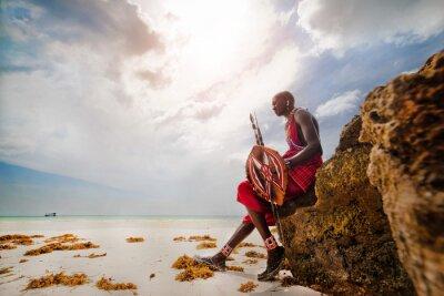 Poster Porträt eines Massai-Kriegers in Afrika. Stamm, Diani Strand, Kultur