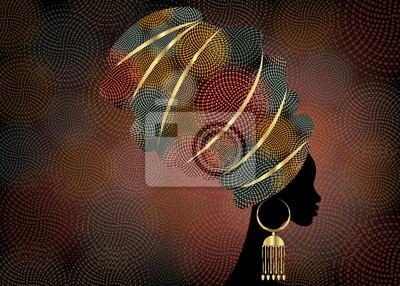 Poster Porträt schöne afrikanische Frau im traditionellen Turban, Kente Kopf wickeln Afrikanisch, traditionelle Dashiki Druck, schwarze Frauen Vektor Silhouette, Batik, mit traditionellen Goldohrringe, Frisu