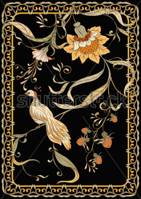 Poster Poster, background with flowers and bird in art nouveau style, vintage, old, retro style. Stock vector illustration. On black background.