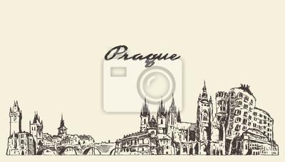 Prague skyline, Czech Republic vector drawn sketch