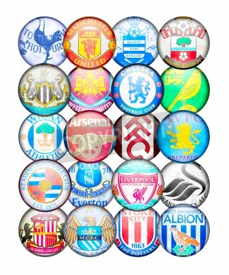 Poster Premier League Teams 2012/13: Farben und Abzeichen der English Football Clubs