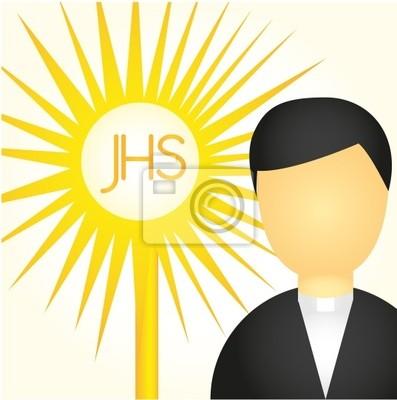 Poster Priester und Heiligen Sakrament