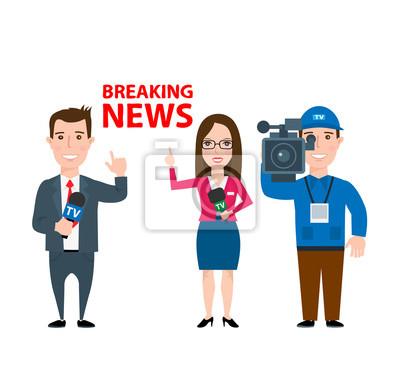 Poster Professionelle Journalisten und Betreiber auf weißem Hintergrund. aktuelle Nachrichten