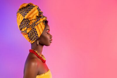 Poster Profile side photo of stunning afro american lady look empty space wear traditional outfit isolated on glow background