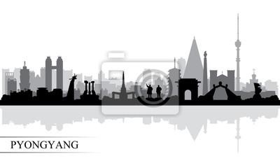 Pyongyang city skyline silhouette background