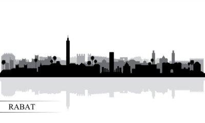 Rabat city skyline silhouette background