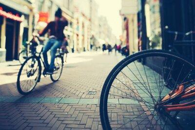 Poster Radfahren in Amsterdam at Sunset