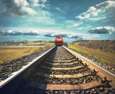 Poster Railroad mit einem Güterzug