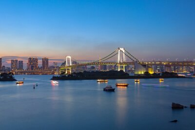 Poster rainbow bridge odaiba tokyo japan important destination to visit