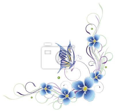 Ranke Flora Blumen Blüten Schmetterling Pastell Wandposter