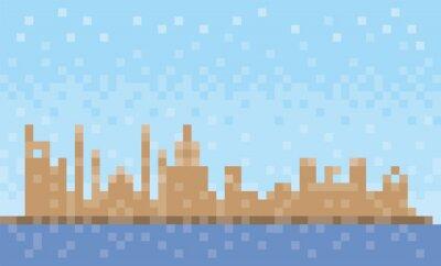 Ras al-Khaimah city skyline, pixel art background