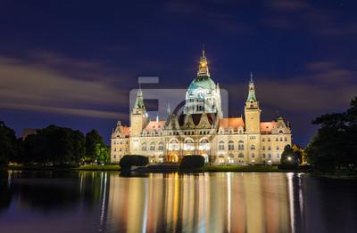 Rathaus von Hannover, Deutschland in der Nacht