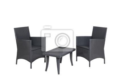 Rattan Gartenmöbel 2 Stühle Sessel 1 Tisch Isoliert Wandposter