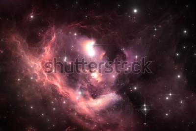 Poster Raumhintergrund des nächtlichen Himmels mit Nebelfleck und Sternen, Illustration